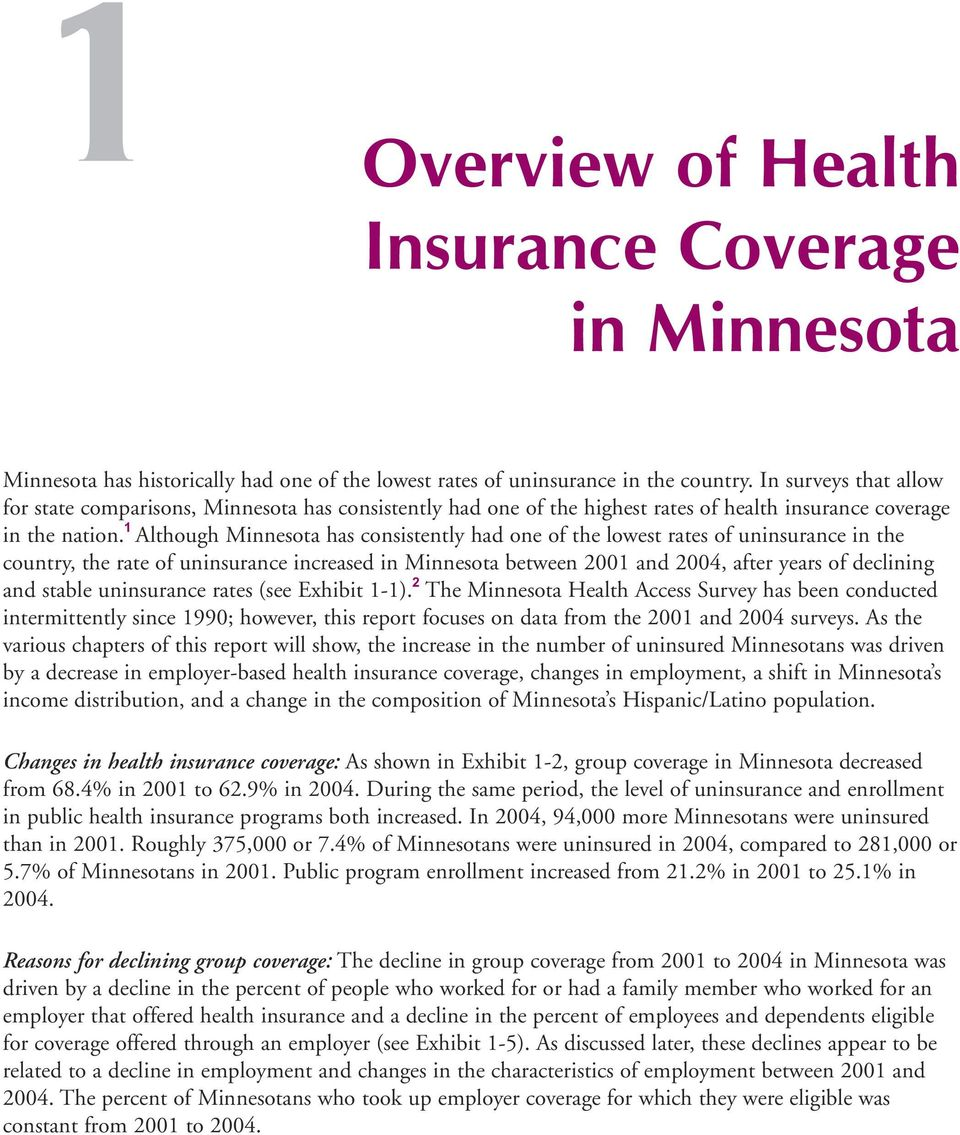 1 Although Minnesota has consistently had one of the lowest rates of uninsurance in the country, the rate of uninsurance increased in Minnesota between 2001 and 2004, after years of declining and