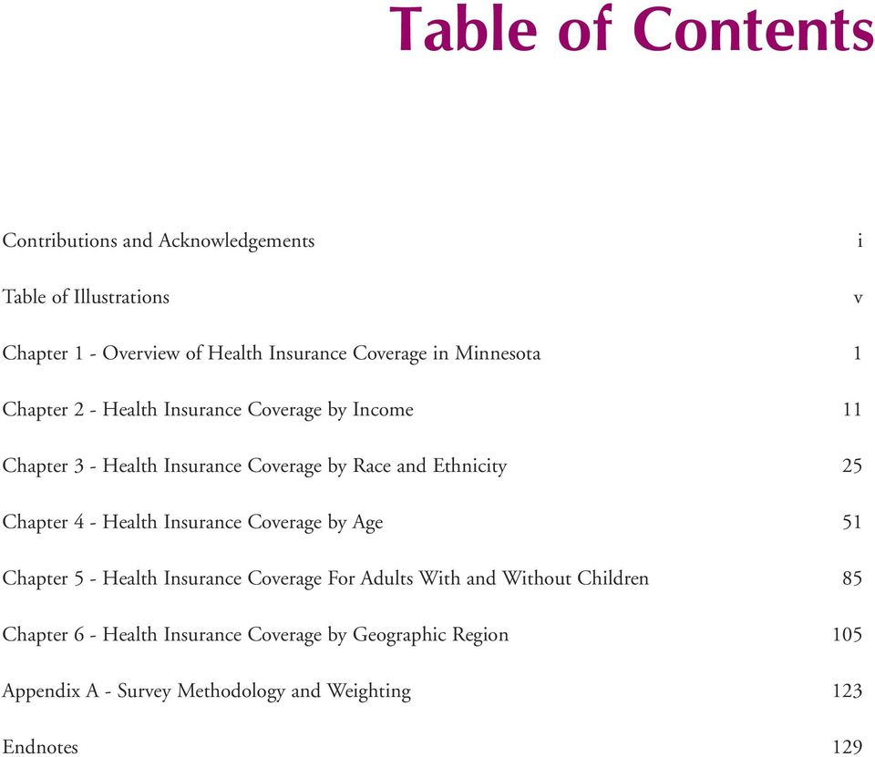 Chapter 4 - Health Insurance Coverage by Age Chapter 5 - Health Insurance Coverage For Adults With and Without Children Chapter