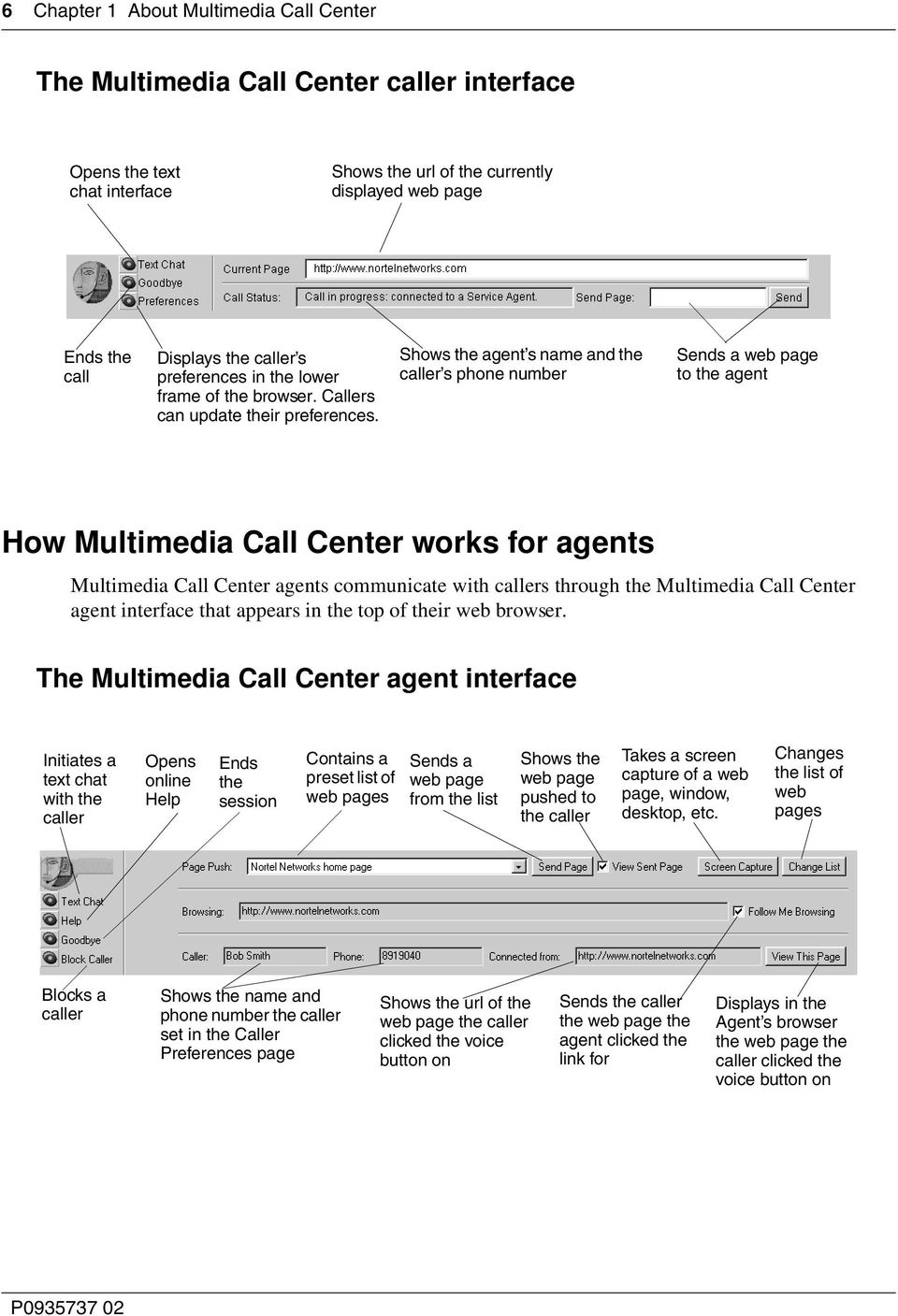 Shows the agent s name and the caller s phone number Sends a web page to the agent How Multimedia Call Center works for agents Multimedia Call Center agents communicate with callers through the