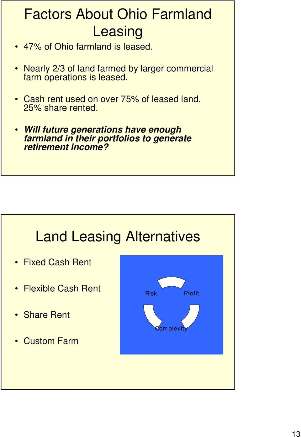 Cash rent used on over 75% of leased land, 25% share rented.