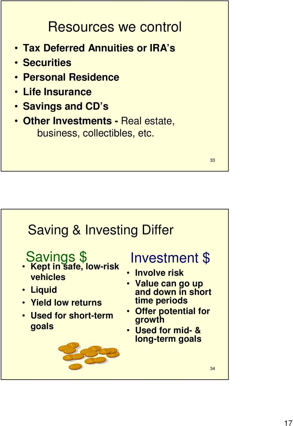 33 Saving & Investing Differ Savings $ Kept in safe, low-risk vehicles Liquid Yield low returns Used for