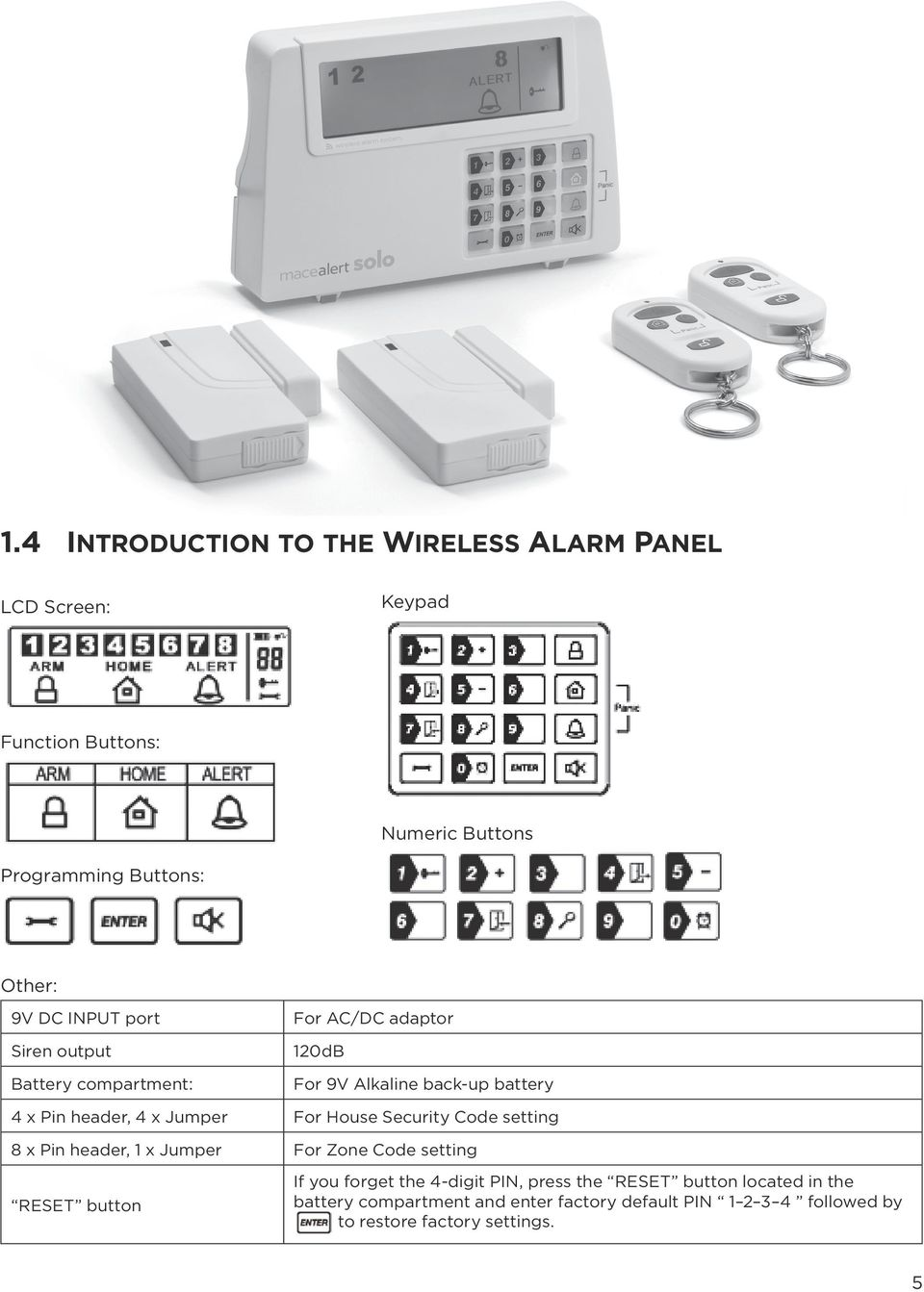 For House Security Code setting 8 x Pin header, x Jumper For Zone Code setting RESET button If you forget the 4-digit PIN, press