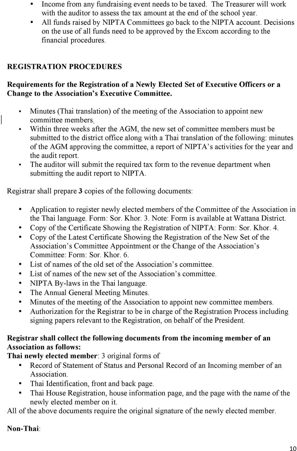 REGISTRATION PROCEDURES Requirements for the Registration of a Newly Elected Set of Executive Officers or a Change to the Association s Executive Committee.