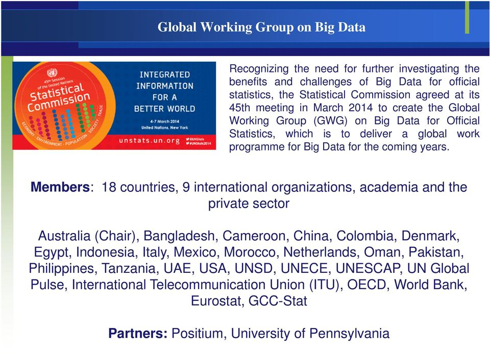 Members: 18 countries, 9 international organizations, academia and the private sector Australia (Chair), Bangladesh, Cameroon, China, Colombia, Denmark, Egypt, Indonesia, Italy, Mexico, Morocco,