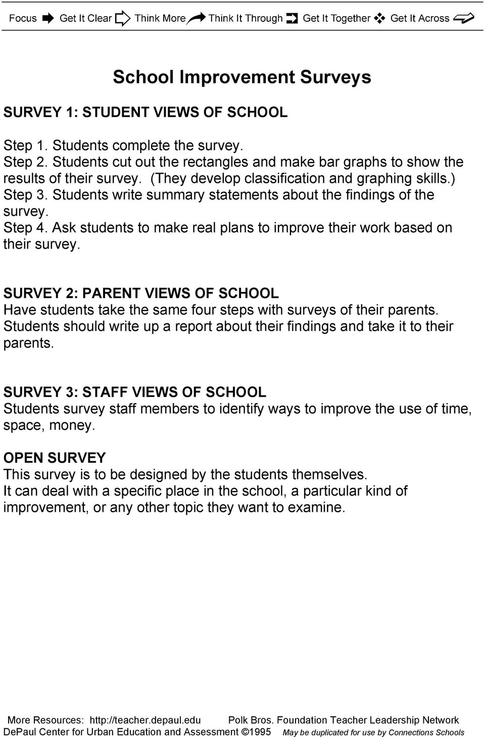 Ask students to make real plans to improve their work based on their survey. SURVEY 2: PARENT VIEWS OF SCHOOL Have students take the same four steps with surveys of their parents.