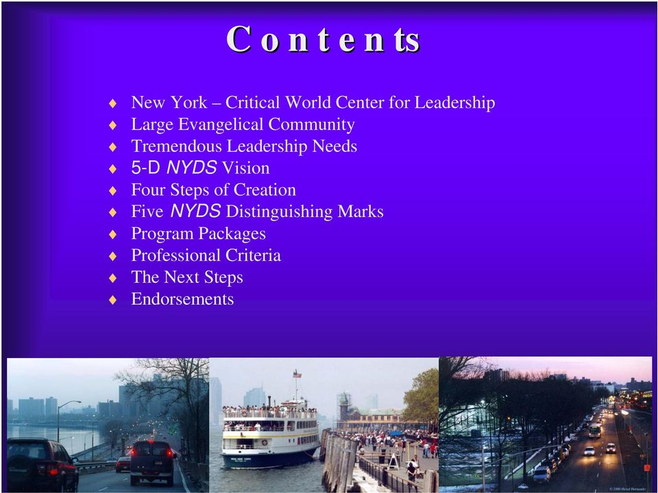 NYDS Vision Four Steps of Creation Five NYDS Distinguishing