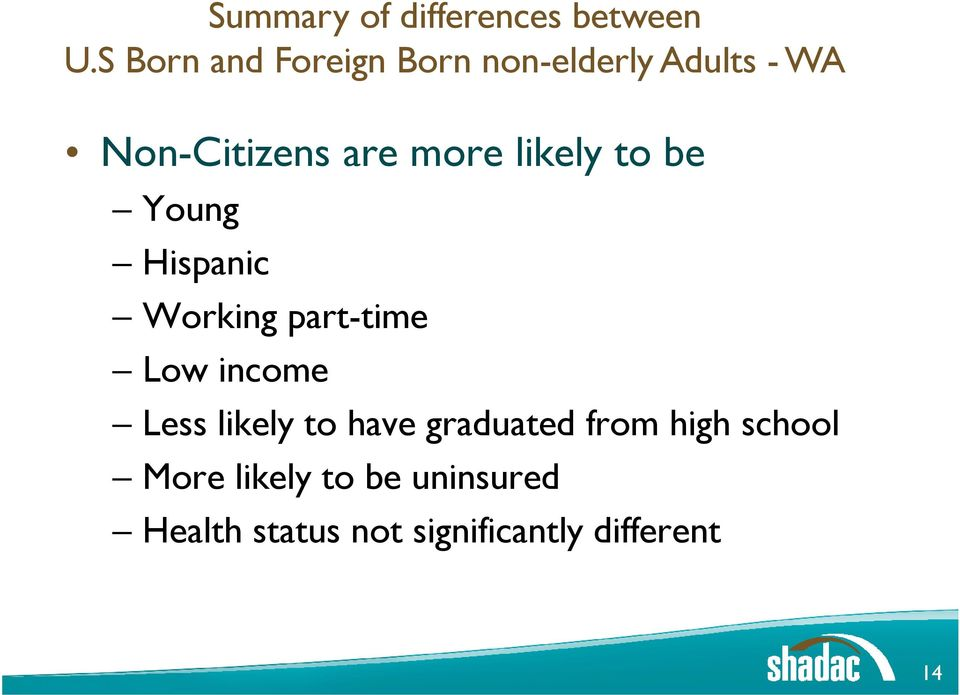 likely to be Young Hispanic Working part-time Low income Less likely
