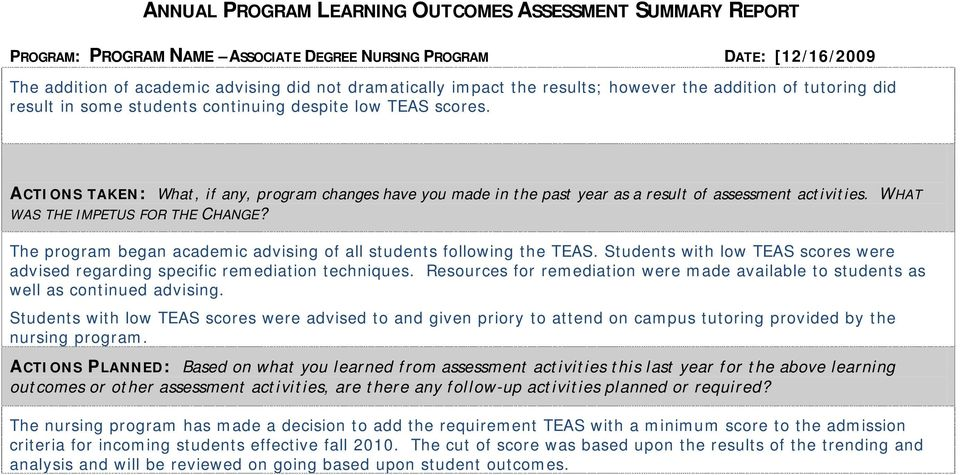 The program began academic advising of all students following the TEAS. Students with low TEAS scores were advised regarding specific remediation techniques.
