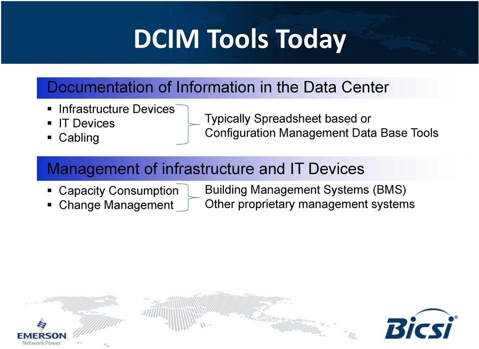 Data Base Tools Management of infrastructure and IT Devices Capacity Consumption