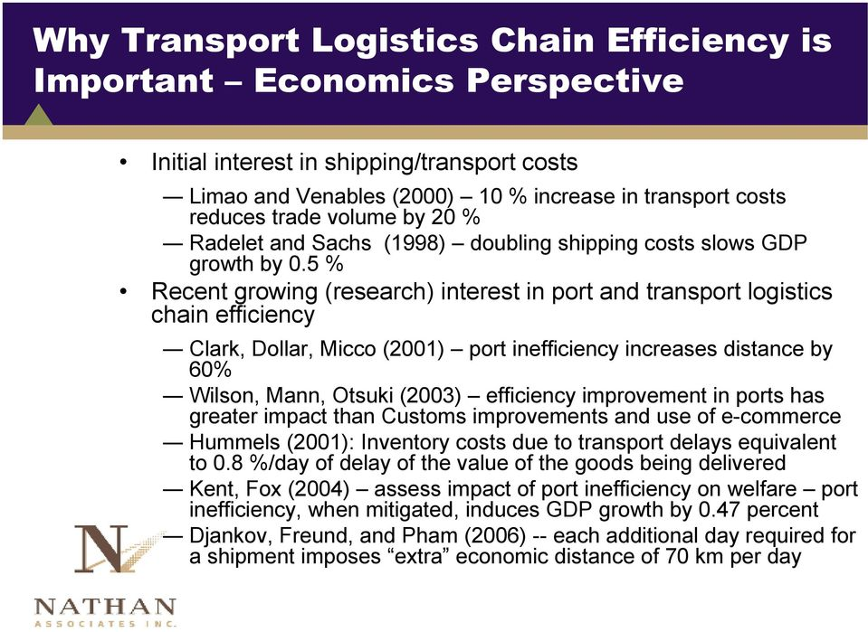 5 % Recent growing (research) interest in port and transport logistics chain efficiency Clark, Dollar, Micco (2001) port inefficiency increases distance by 60% Wilson, Mann, Otsuki (2003) efficiency