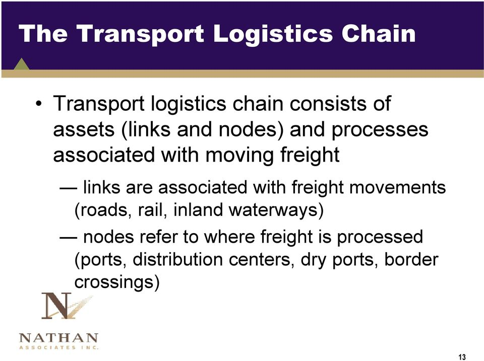 associated with freight movements (roads, rail, inland waterways) nodes refer