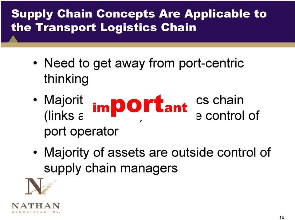 logistics chain important (links and nodes) is outside control of port
