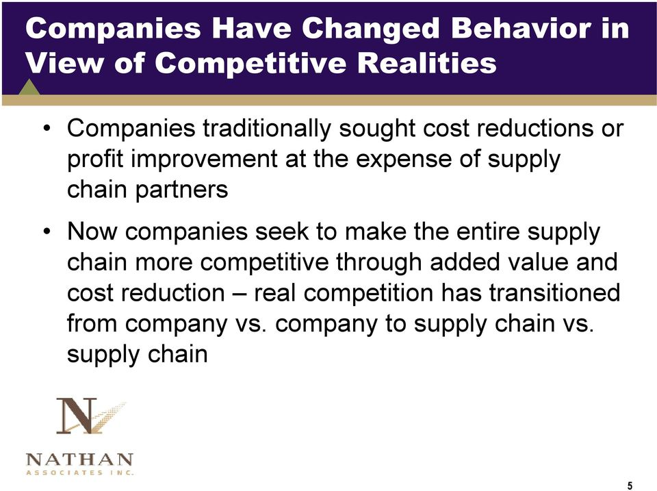 companies seek to make the entire supply chain more competitive through added value and cost