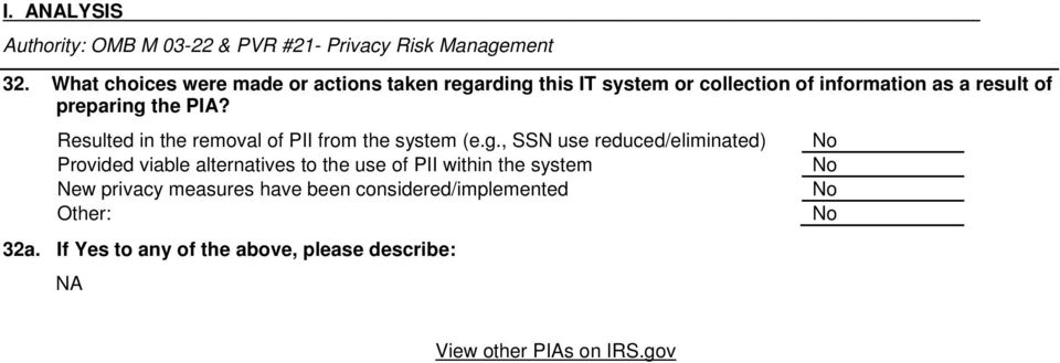 the PIA? Resulted in the removal of PII from the system (e.g.