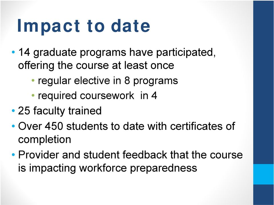 faculty trained Over 450 students to date with certificates of completion