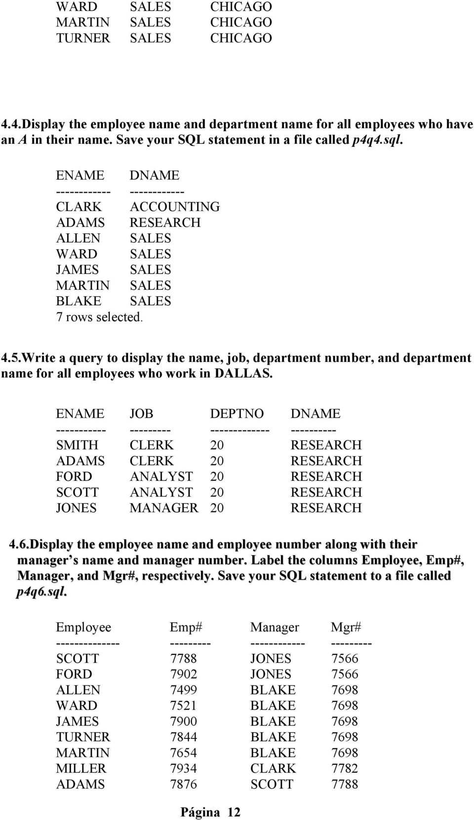 5.Write a query to display the name, job, department number, and department name for all employees who work in DALLAS.