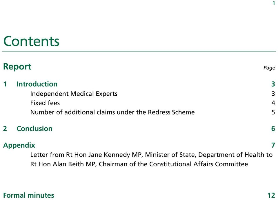 Letter from Rt Hon Jane Kennedy MP, Minister of State, Department of Health to Rt