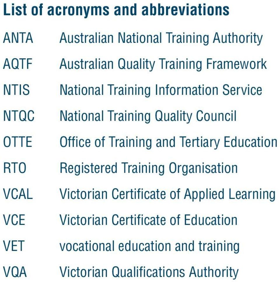 Council Office of Training and Tertiary Education Registered Training Organisation Victorian Certificate of