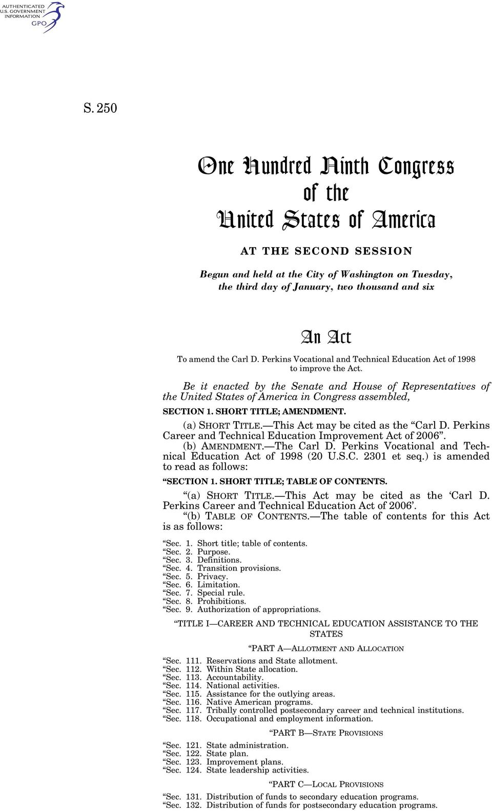 Be it enacted by the Senate and House of Representatives of the United States of America in Congress assembled, SECTION 1. SHORT TITLE; AMENDMENT. (a) SHORT TITLE. This Act may be cited as the Carl D.