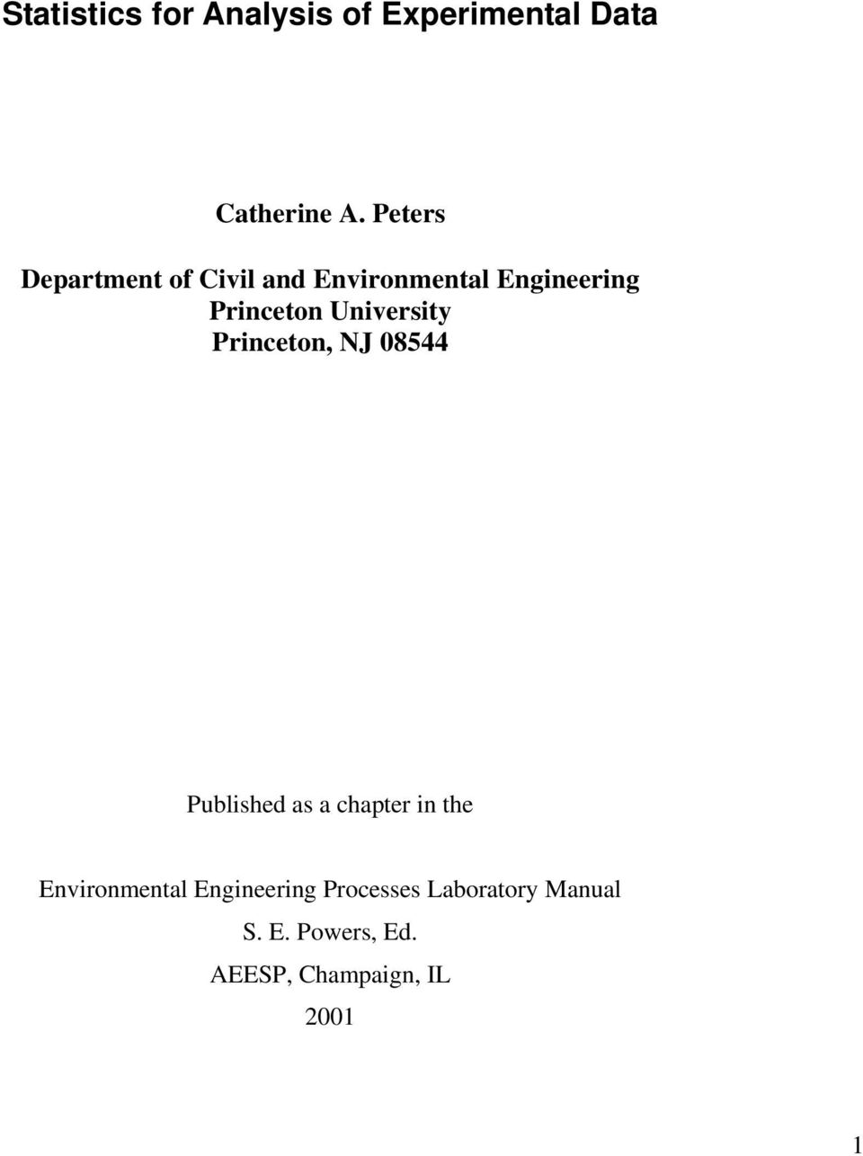 University Princeton, NJ 08544 Published as a chapter in the