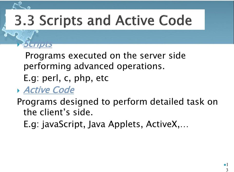 g: perl, c, php, etc Active Code Programs designed to