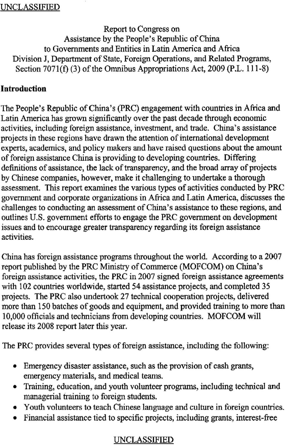 111-8) Introdnction The People's Republic of China's (PRC) engagement with countries in Africa and Latin America has grown significantly over the past decade through economic activities, including