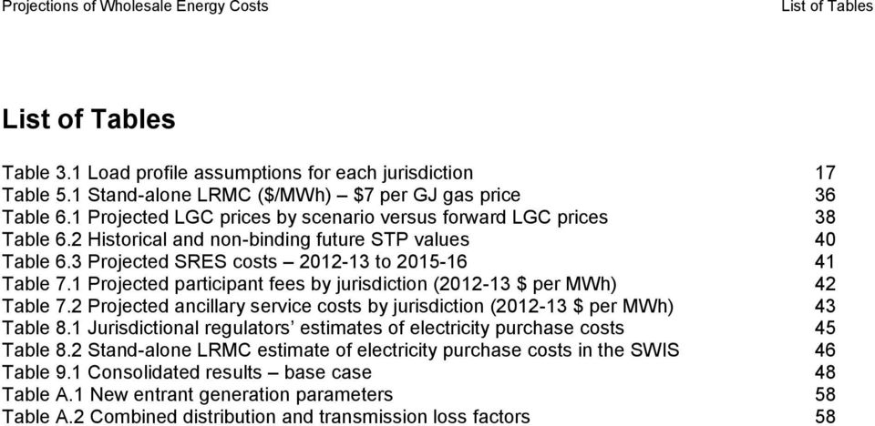 1 Projected participant fees by jurisdiction (2012-13 $ per MWh) 42 Table 7.2 Projected ancillary service costs by jurisdiction (2012-13 $ per MWh) 43 Table 8.