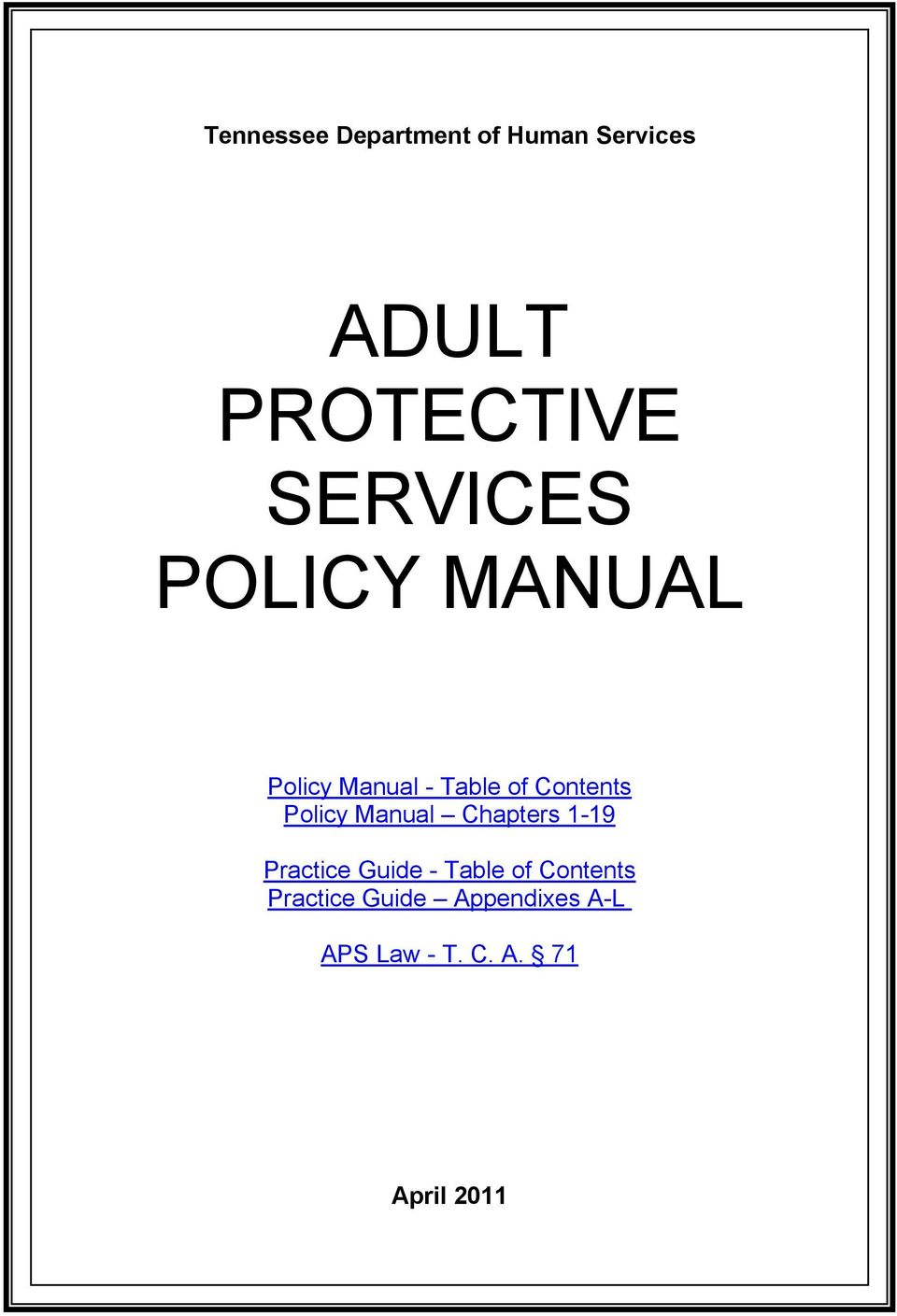 protective adult services of tn Department