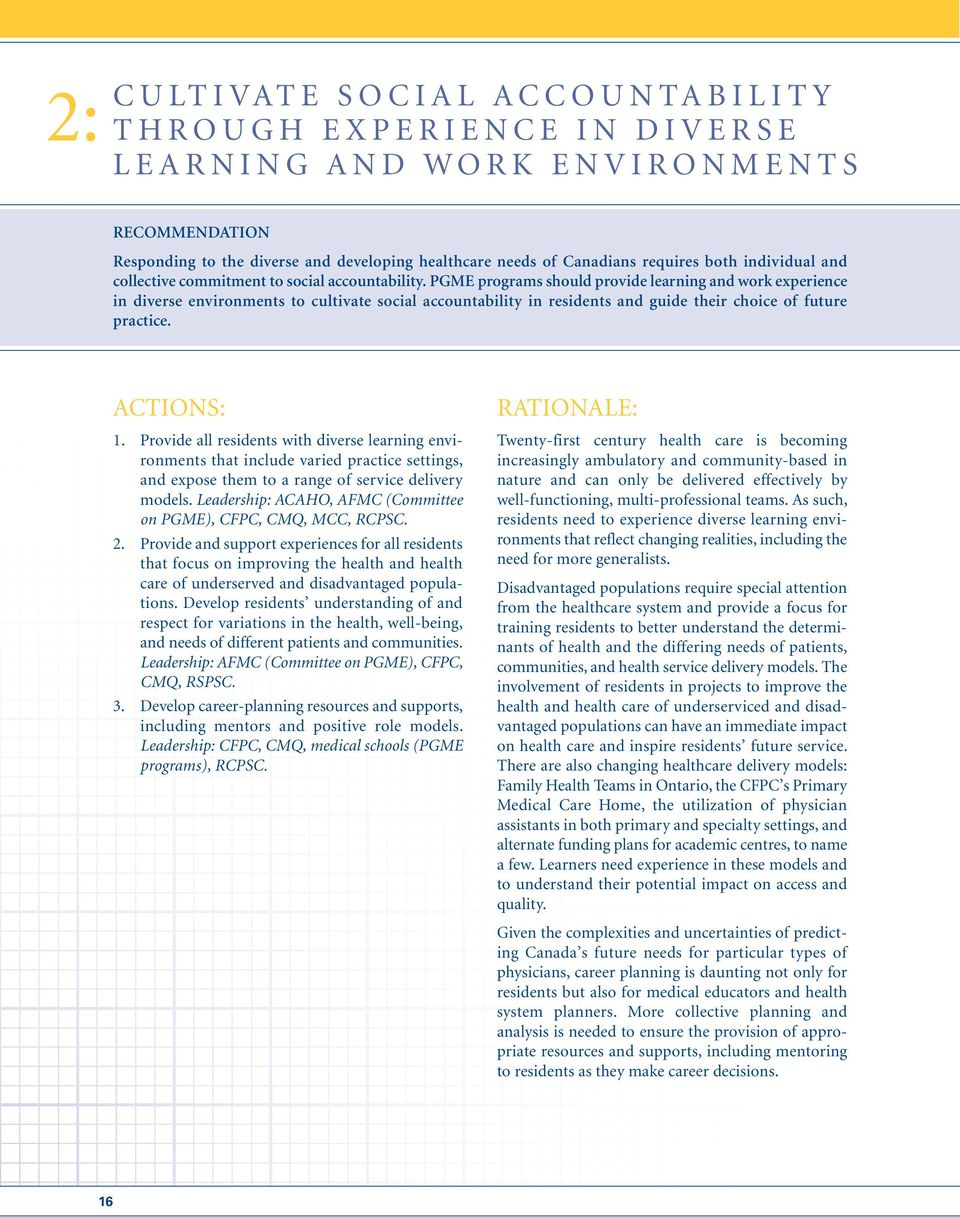 PGME programs should provide learning and work experience in diverse environments to cultivate social accountability in residents and guide their choice of future practice. ACTIONS: 1.