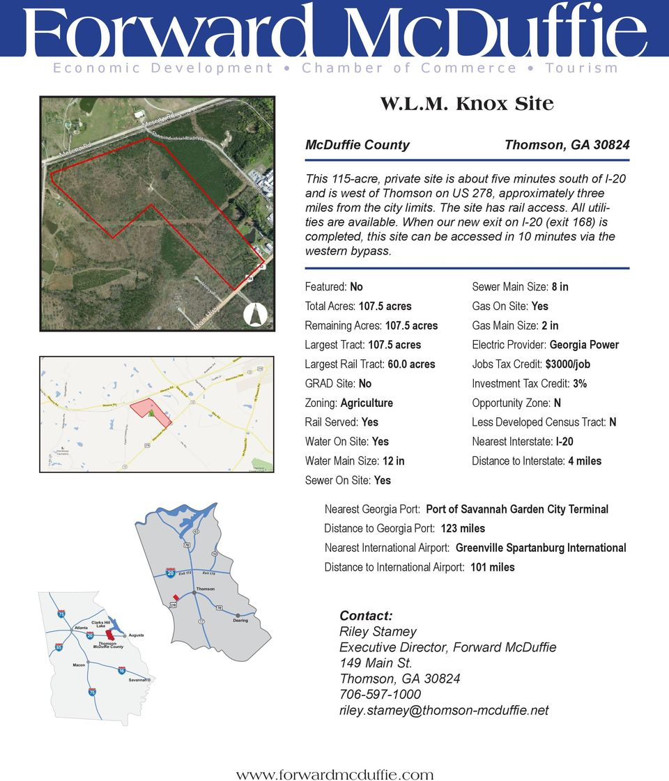 5 acres Largest Tract: 107.5 acres Largest Rail Tract: 60.