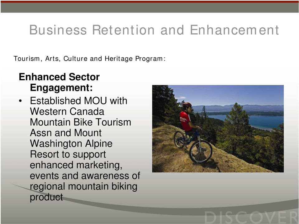 Mountain Bike Tourism Assn and Mount Washington Alpine Resort to support