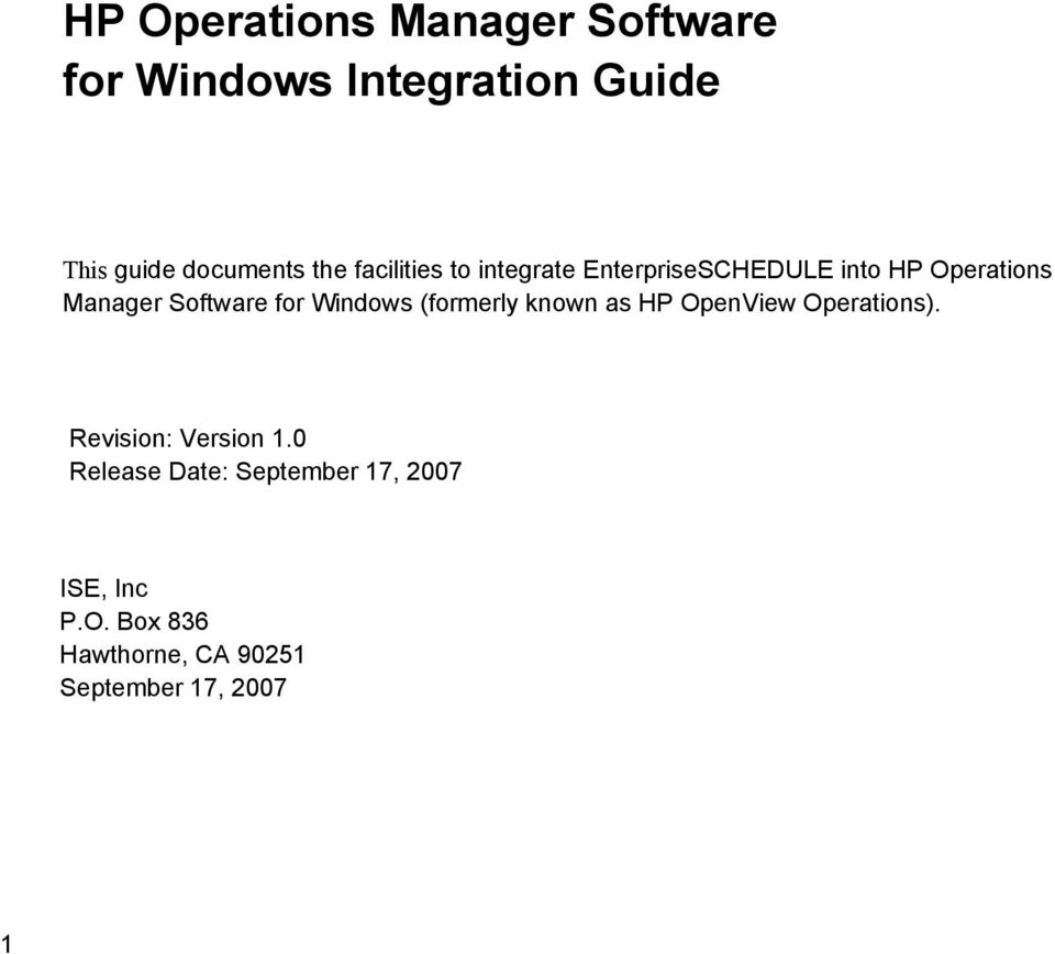 for Windows (formerly known as HP OpenView Operations). Revision: Version 1.
