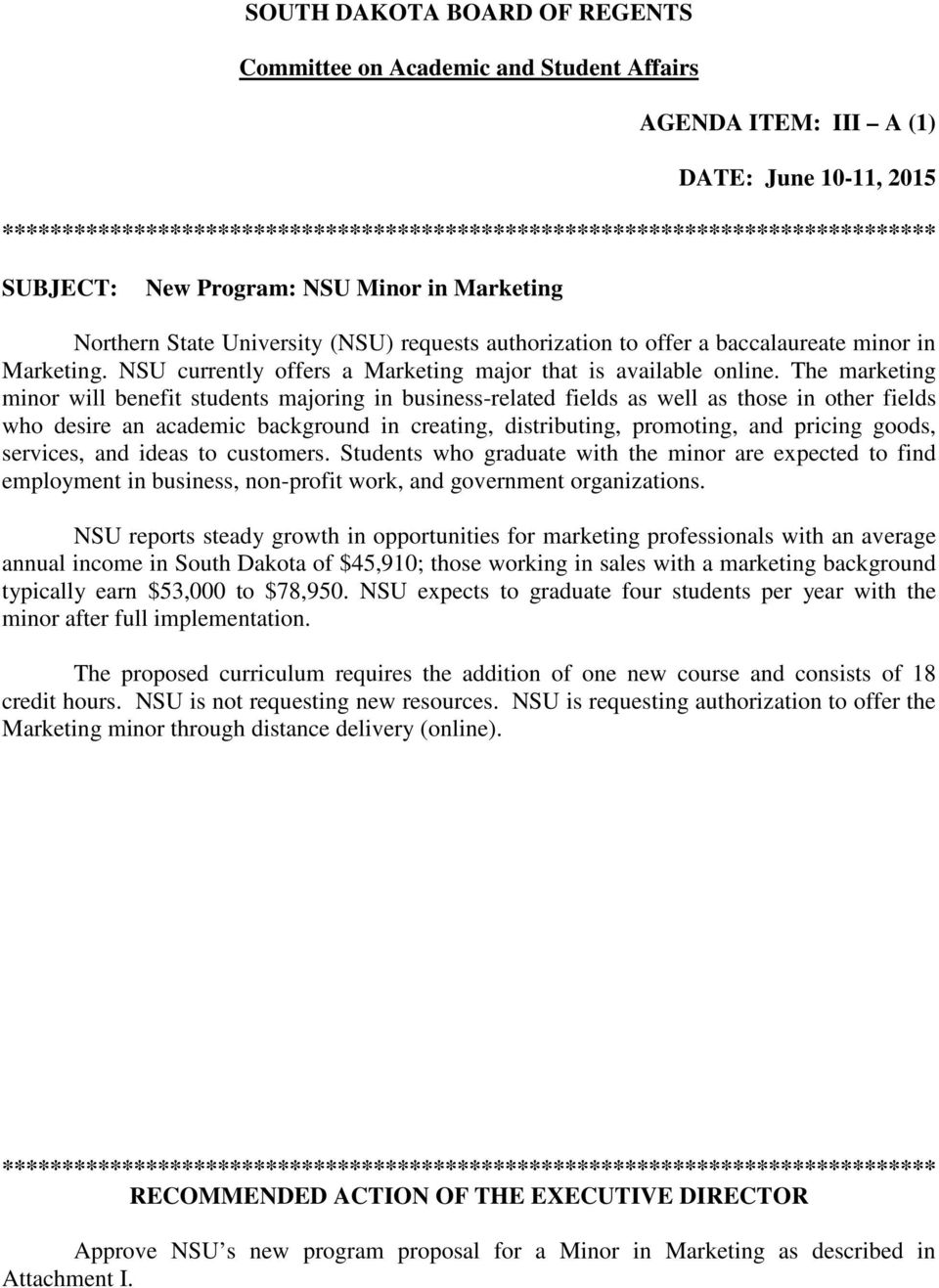 NSU currently offers a Marketing major that is available online.