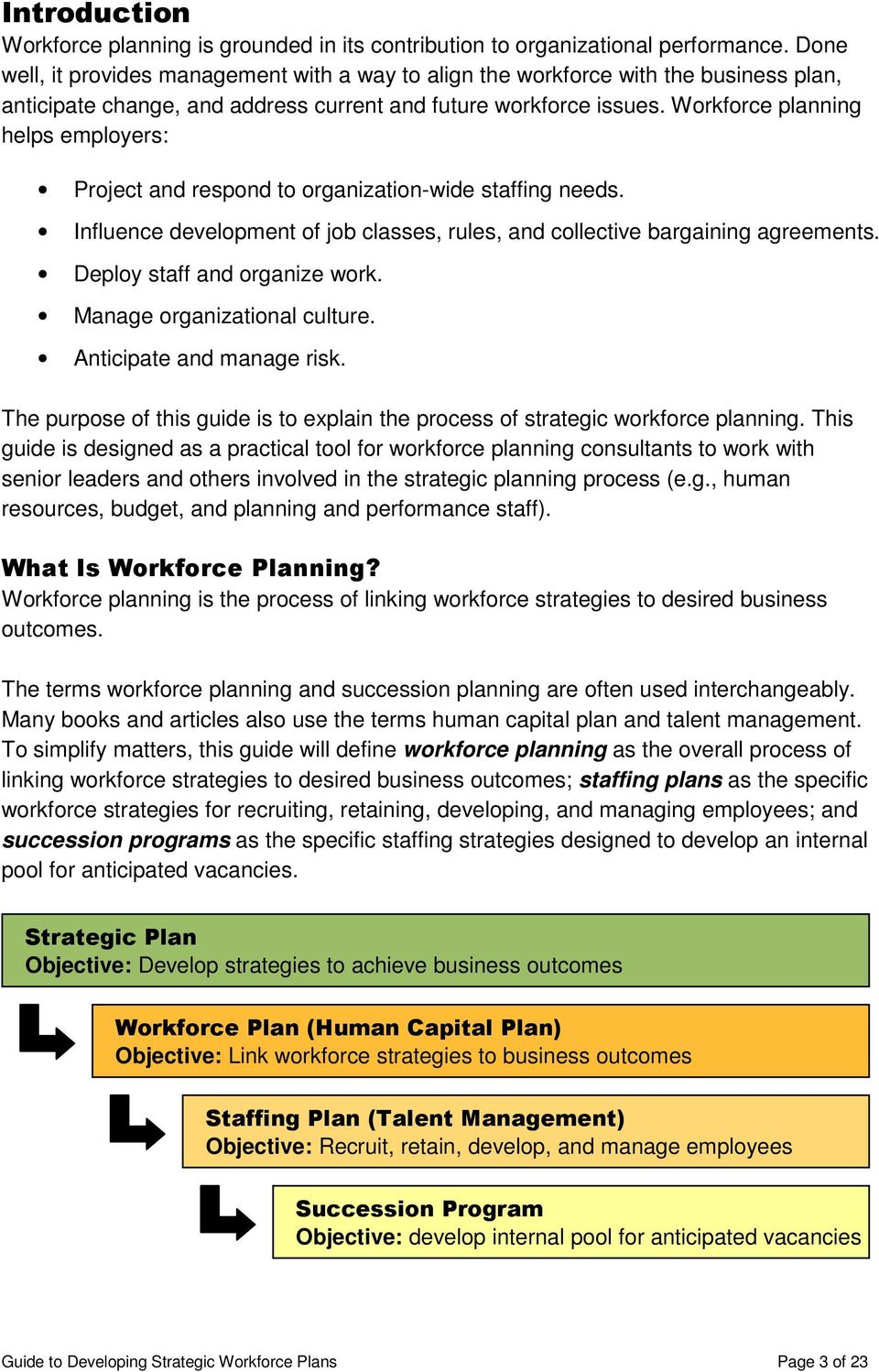 Workforce planning helps employers: Project and respond to organization-wide staffing needs. Influence development of job classes, rules, and collective bargaining agreements.