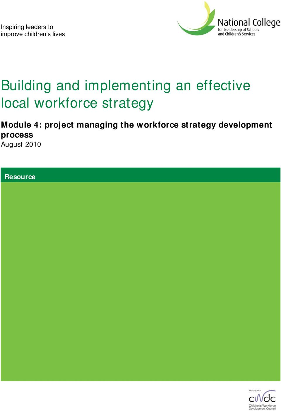 workforce strategy Module 4: project managing the