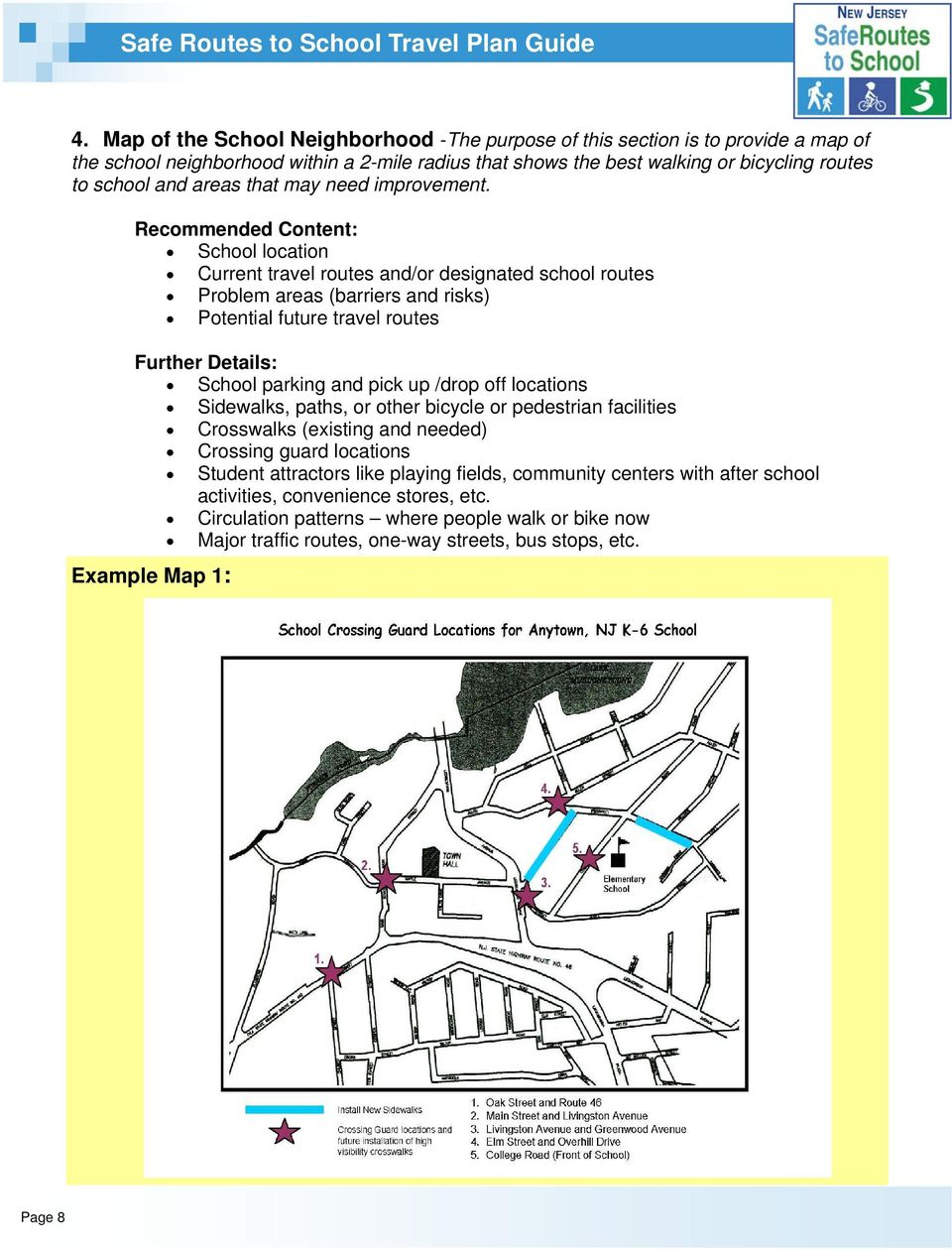 Recommended Content: School location Current travel routes and/or designated school routes Problem areas (barriers and risks) Potential future travel routes Further Details: School parking and pick