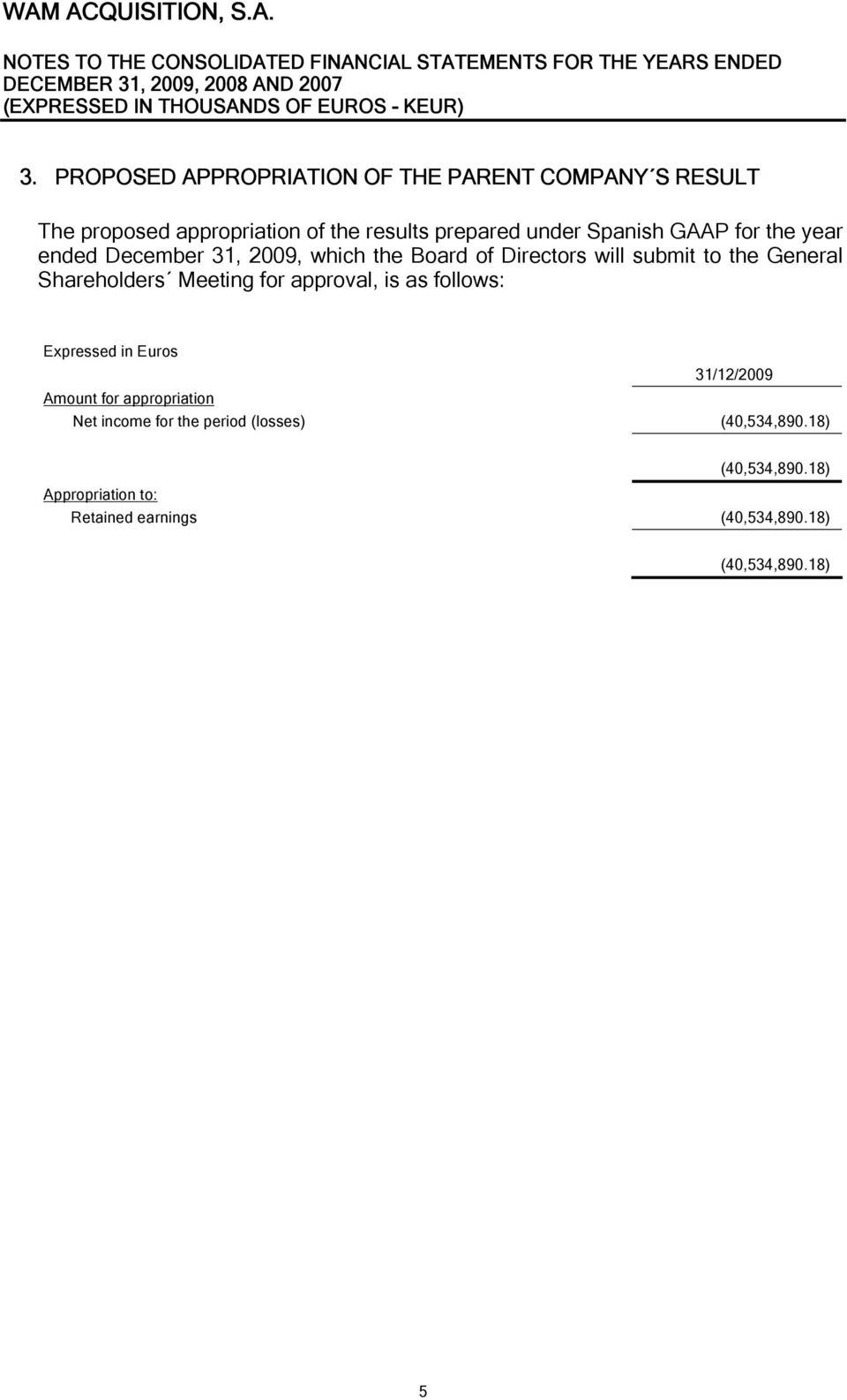 Shareholders Meeting for approval, is as follows: Expressed in Euros 31/12/2009 Amount for appropriation Net income
