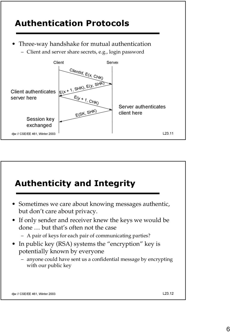 CSE/EE 461, Winter 2003 L23.11 Authenticity and Integrity Sometimes we care about knowing messages authentic, but don t care about privacy.