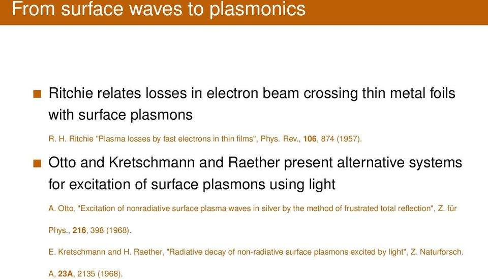 Otto and Kretschmann and Raether present alternative systems for excitation of surface plasmons using light A.