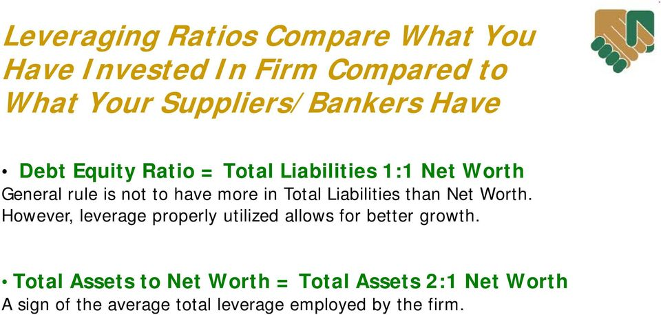 Liabilities than Net Worth. However, leverage properly utilized allows for better growth.