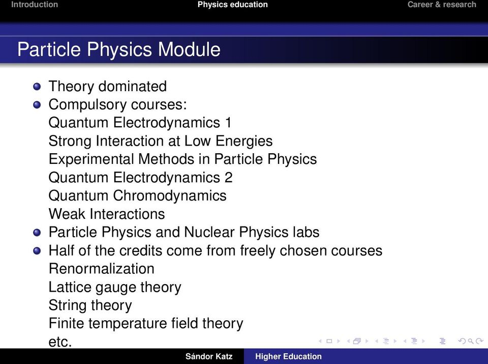 Chromodynamics Weak Interactions Particle Physics and Nuclear Physics labs Half of the credits come