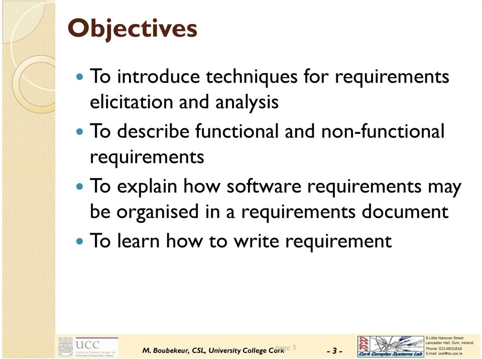 how software requirements may be organised in a requirements document To