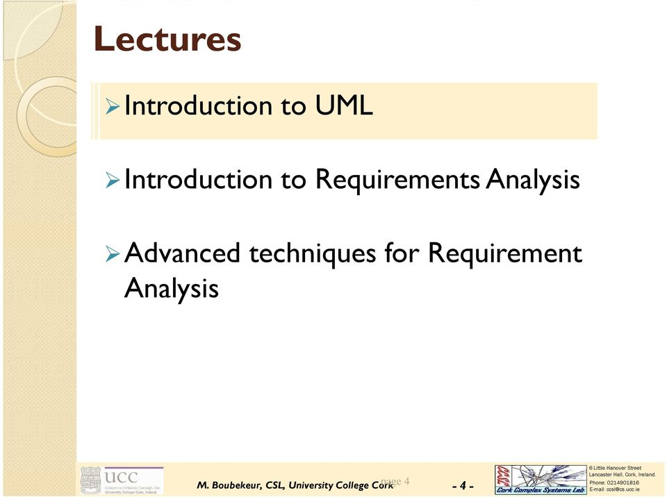 techniques for Requirement Analysis M.