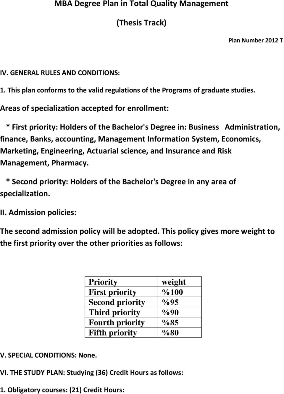 Marketing, Engineering, Actuarial science, and Insurance and Risk Management, Pharmacy. * Second priority: Holders of the Bachelor's Degree in any area of specialization. II.