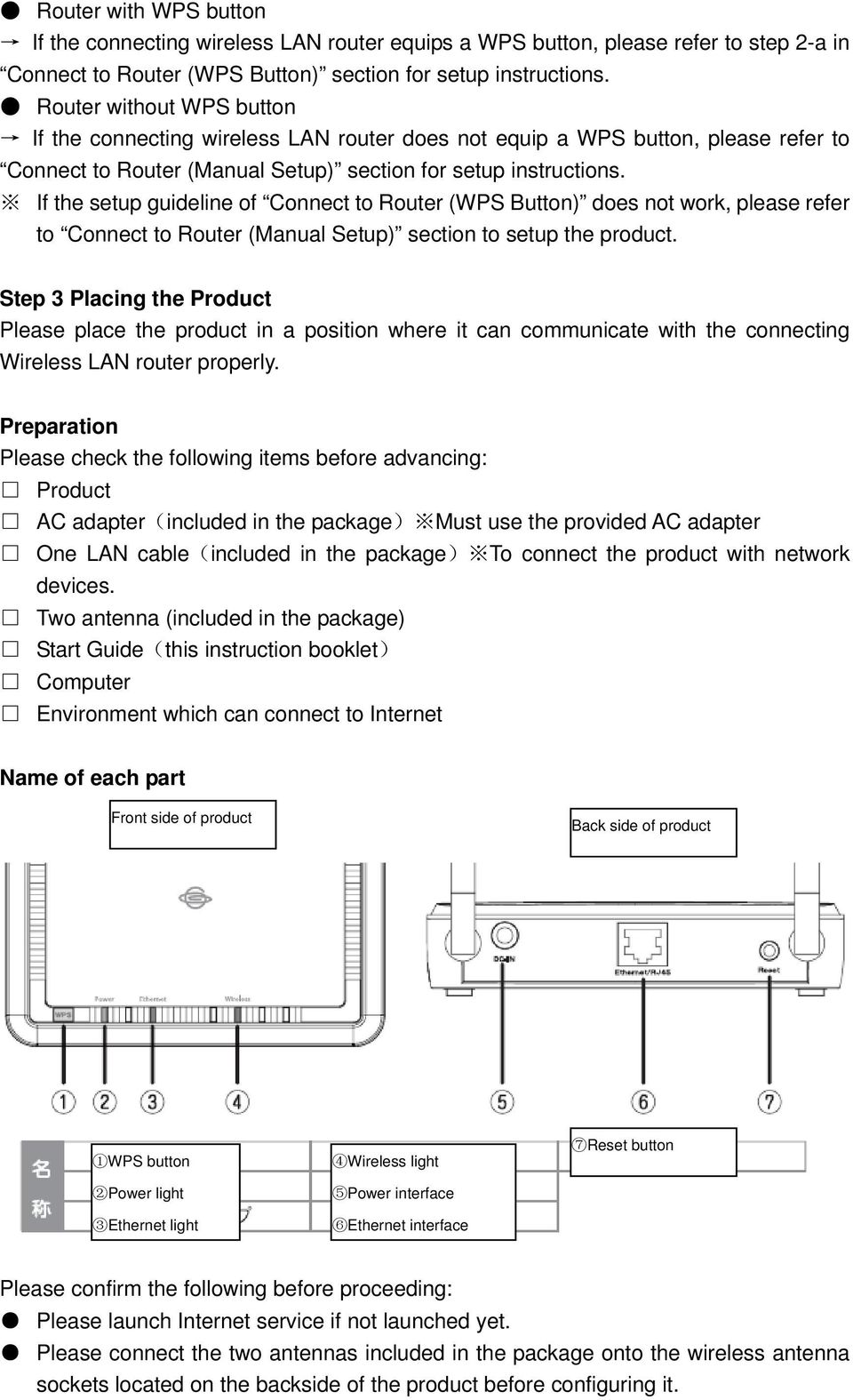 If the setup guideline of Connect to Router (WPS Button) does not work, please refer to Connect to Router (Manual Setup) section to setup the product.
