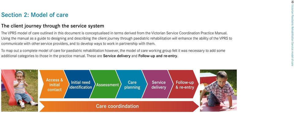 Using the manual as a guide to designing and describing the client journey through paediatric rehabilitation will enhance the ability of the VPRS to communicate with other service providers,