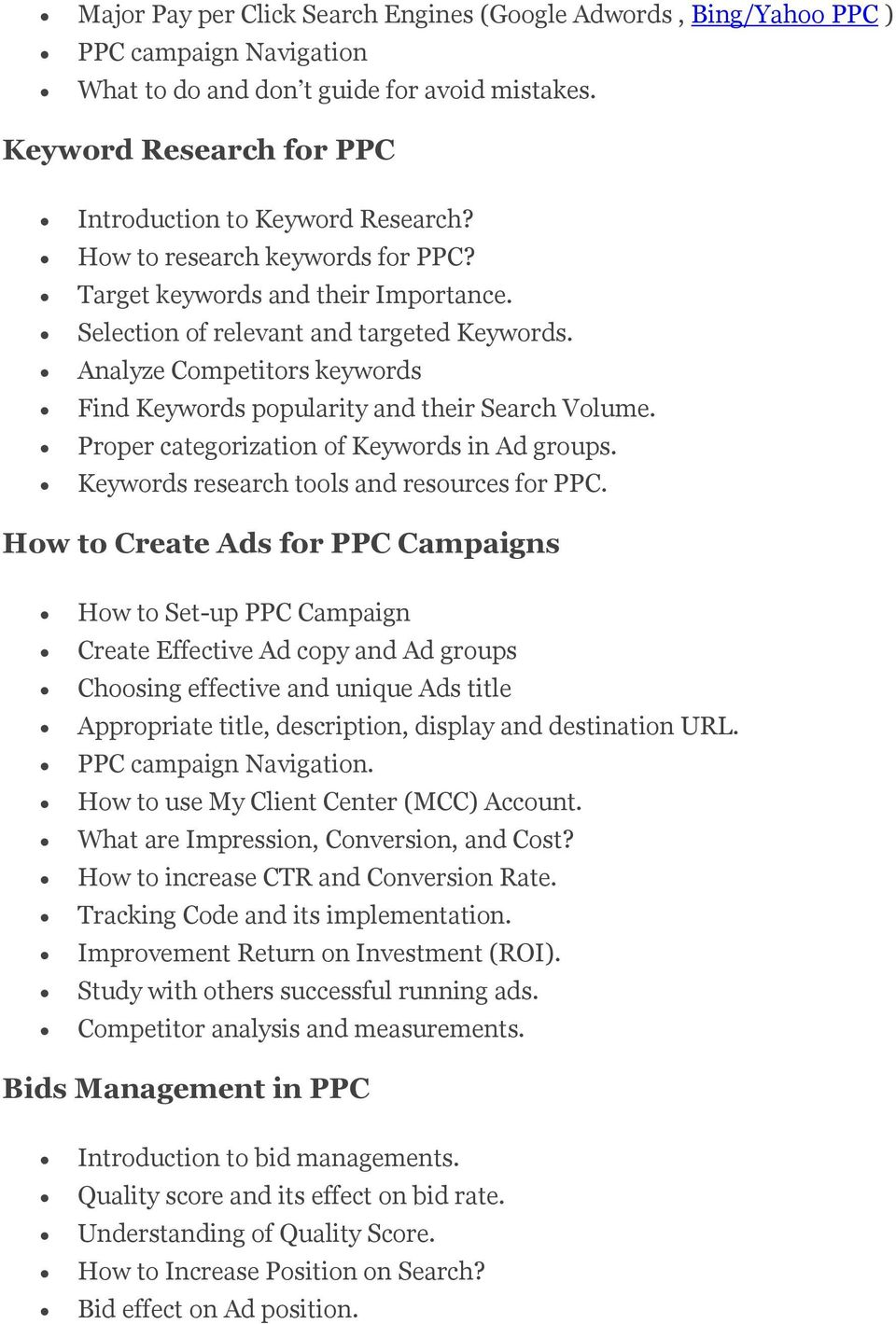 Proper categorization of Keywords in Ad groups. Keywords research tools and resources for PPC.