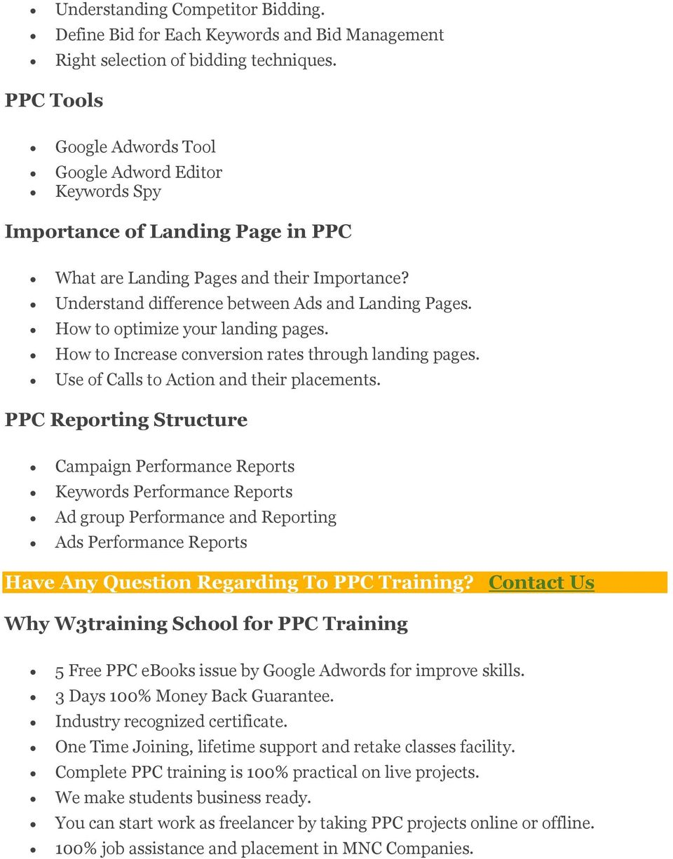How to optimize your landing pages. How to Increase conversion rates through landing pages. Use of Calls to Action and their placements.