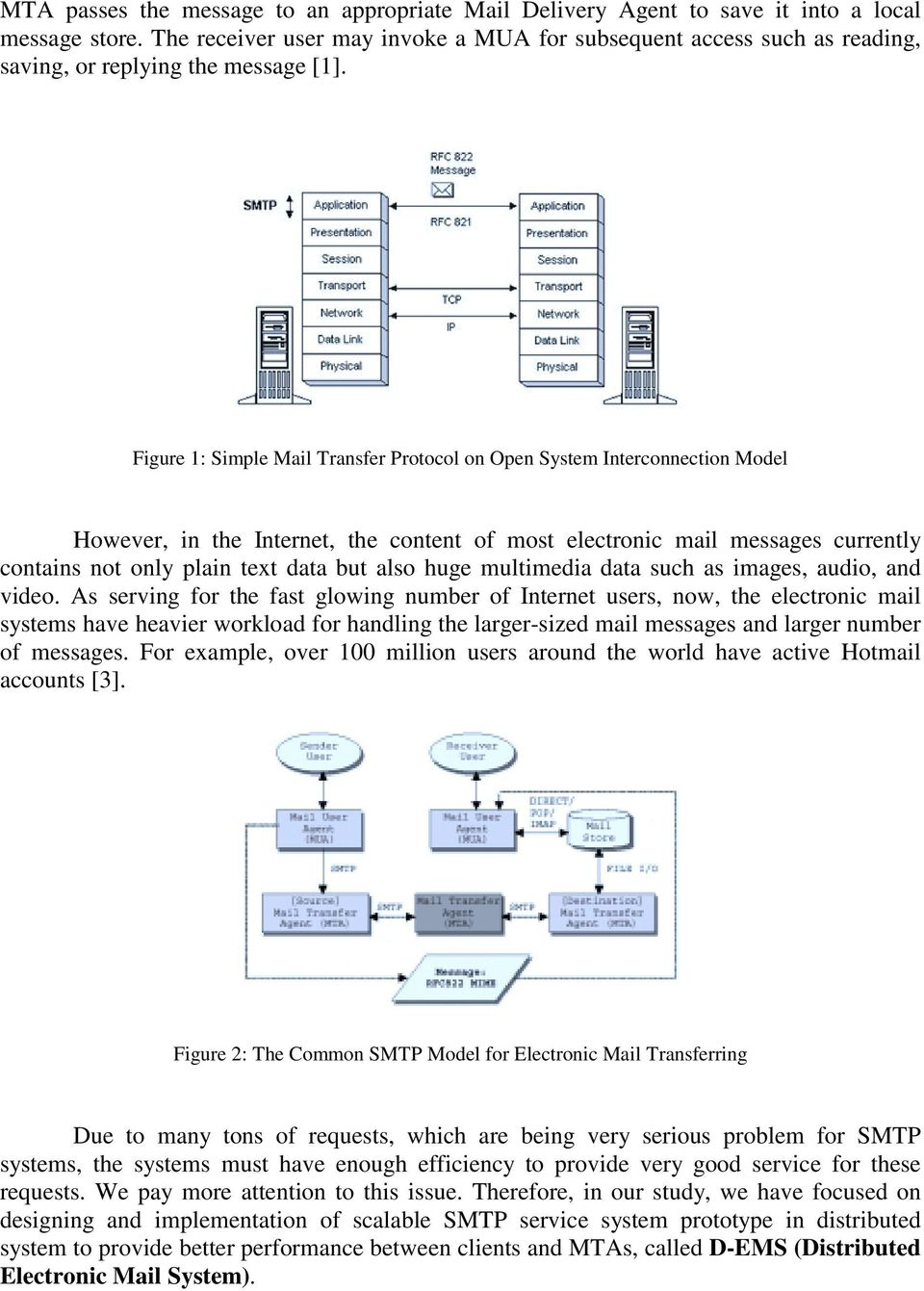 Figure 1: Simple Mail Transfer Protocol on Open System Interconnection Model However, in the Internet, the content of most electronic mail messages currently contains not only plain text data but