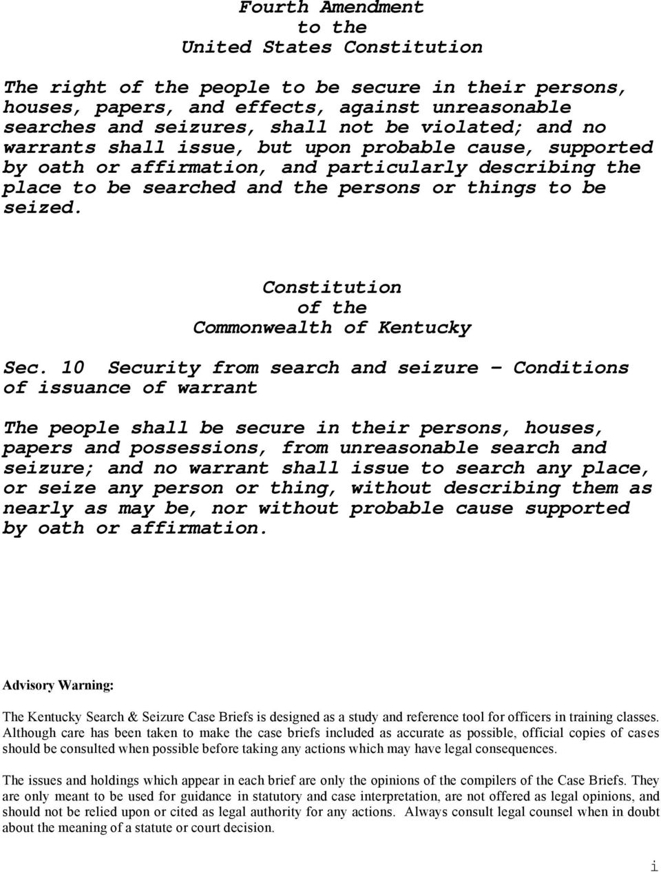 Constitution of the Commonwealth of Kentucky Sec.